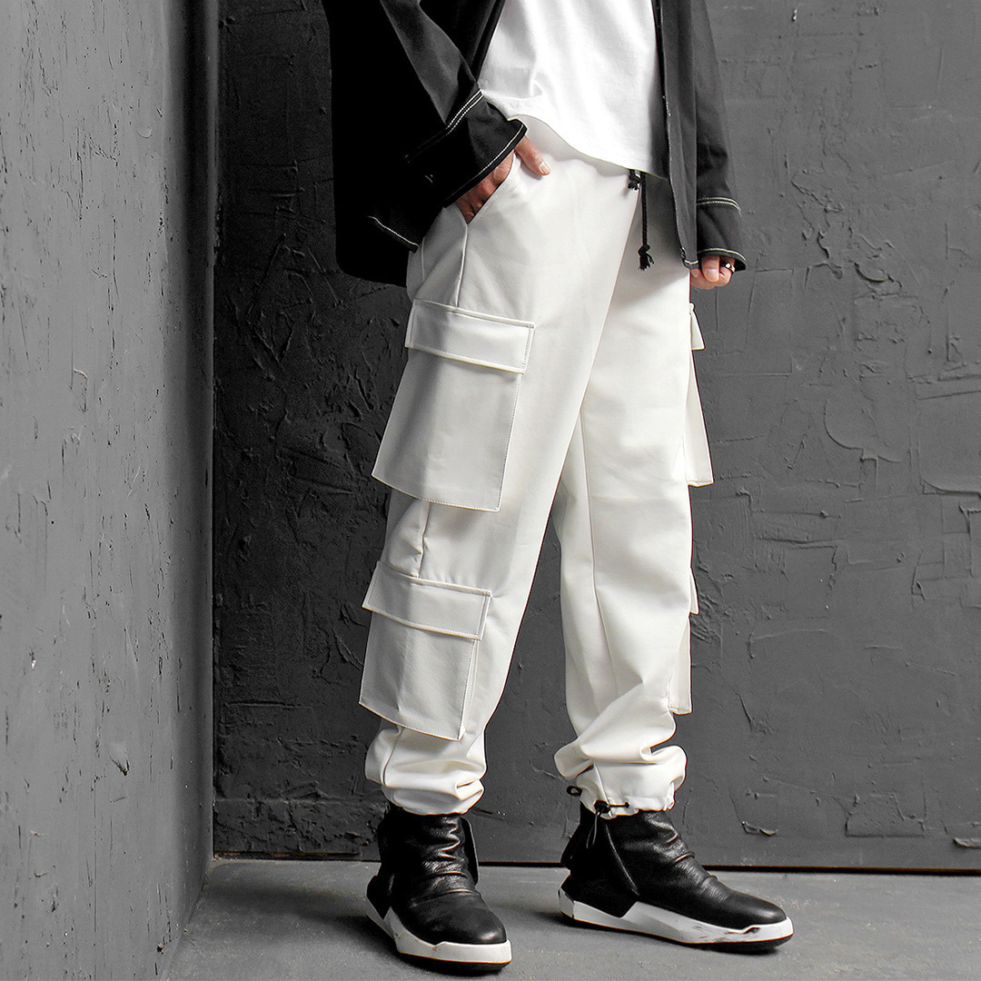 Synthetic Faux Leather Cargo Pocket Sweatpants 011