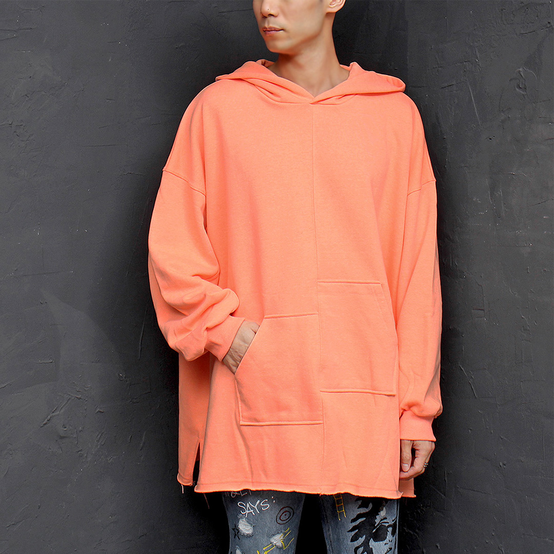 Over sized Loose Fit Unbalanced Pocket Split Side Hoodie 087