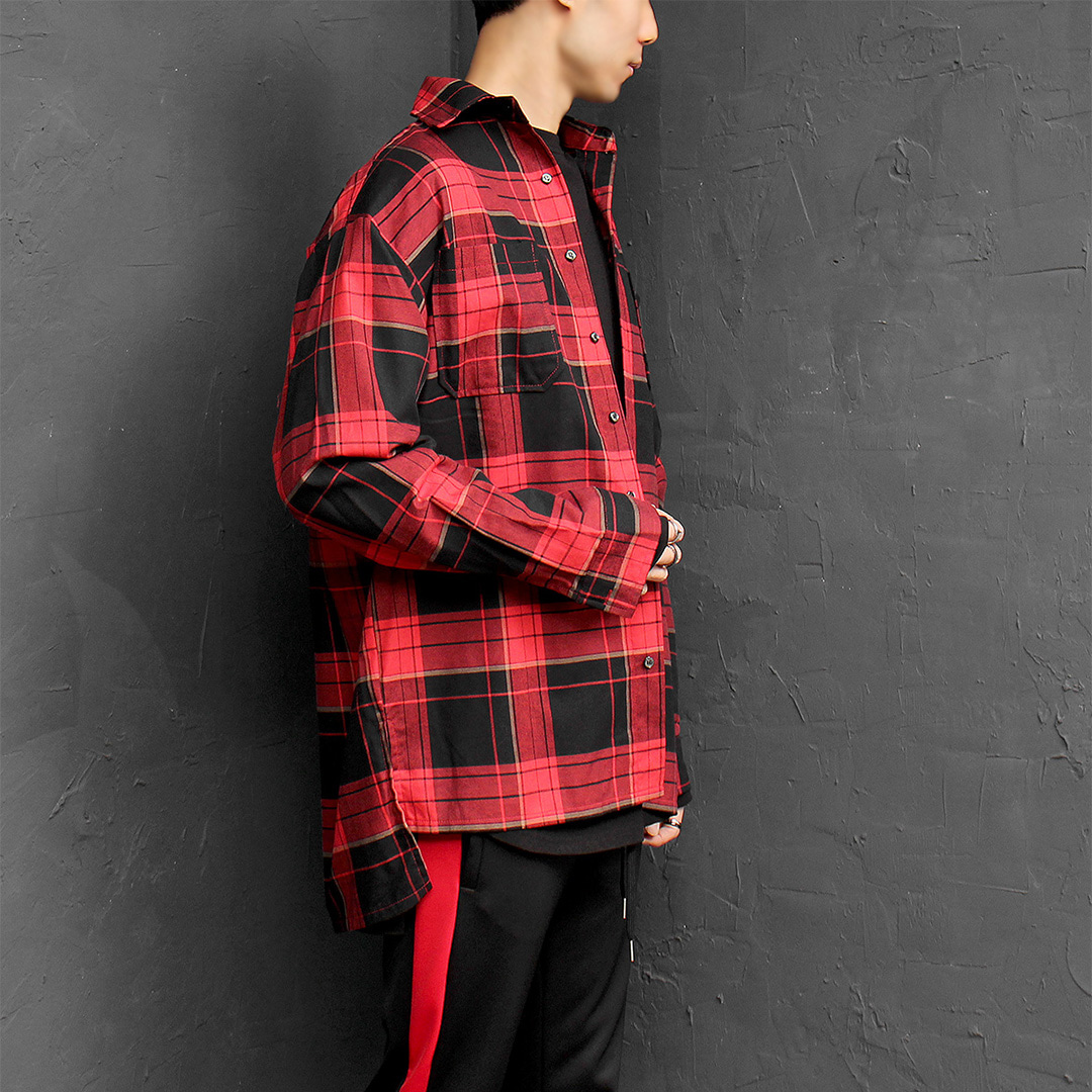 Loose Fit Check Unbalanced Split Side Boxy Shirt 088