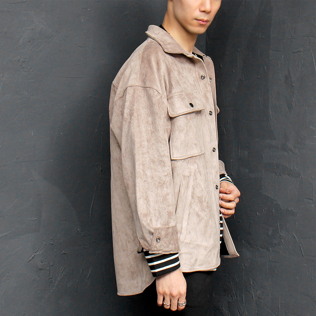 Synthetic Suede Pocket Snap Button Up Jacket 074
