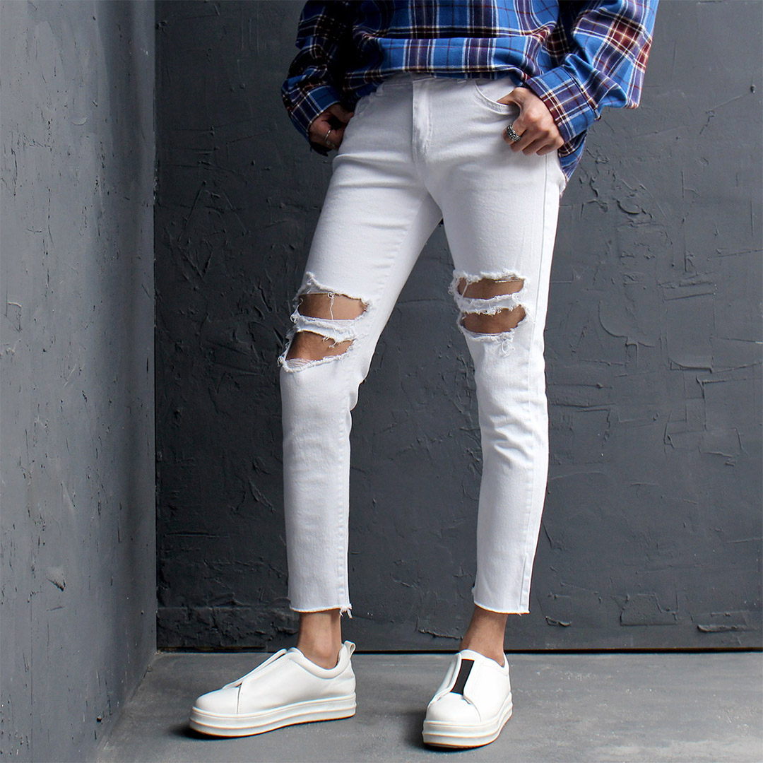 Heavy Destroyed Cut Off Skinny Jeans 136