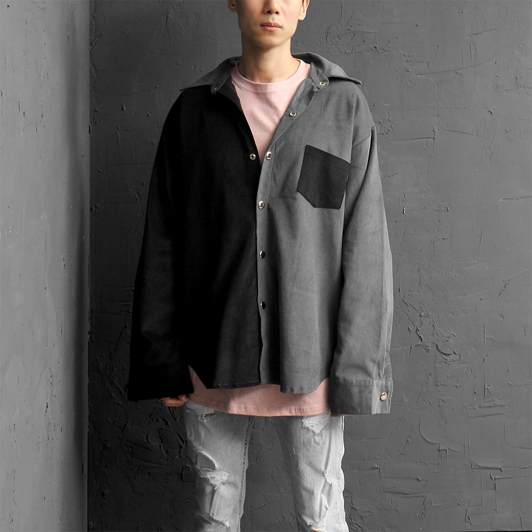 Oversized Fit Contrast Half Color Corduroy Boxy Shirt 091