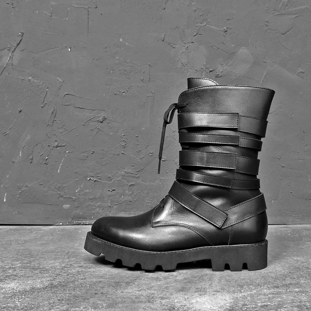 Handmade Multi Closure Premium Leather Boots 020
