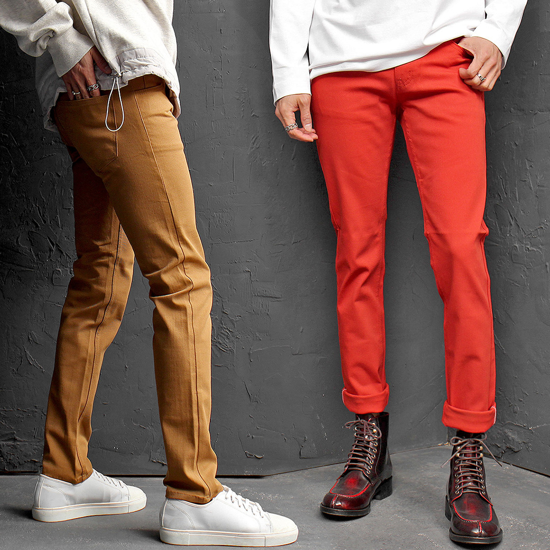 Slim Fit Spandex Stretchable Color Chino Pants 058