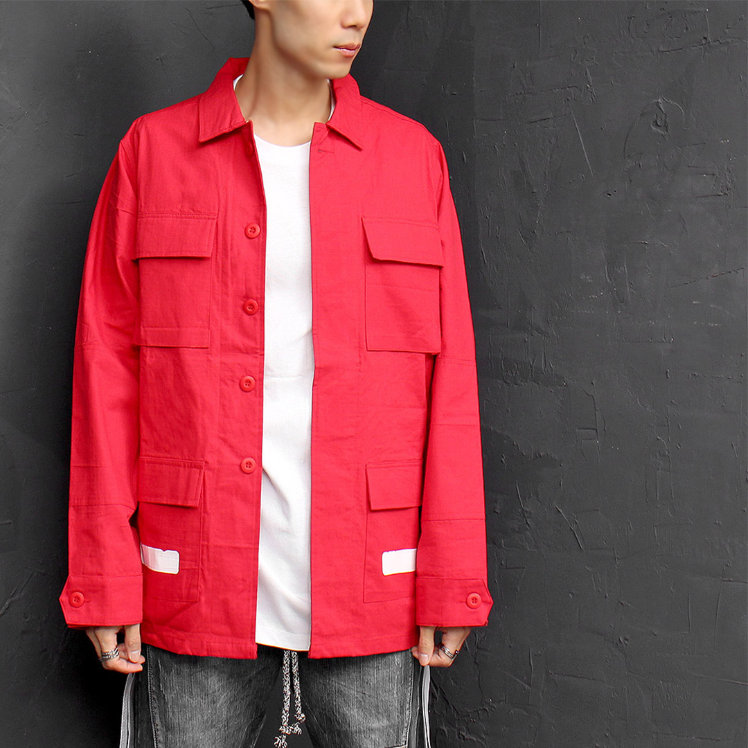 White Painting Flap Pocket Red Jacket 027