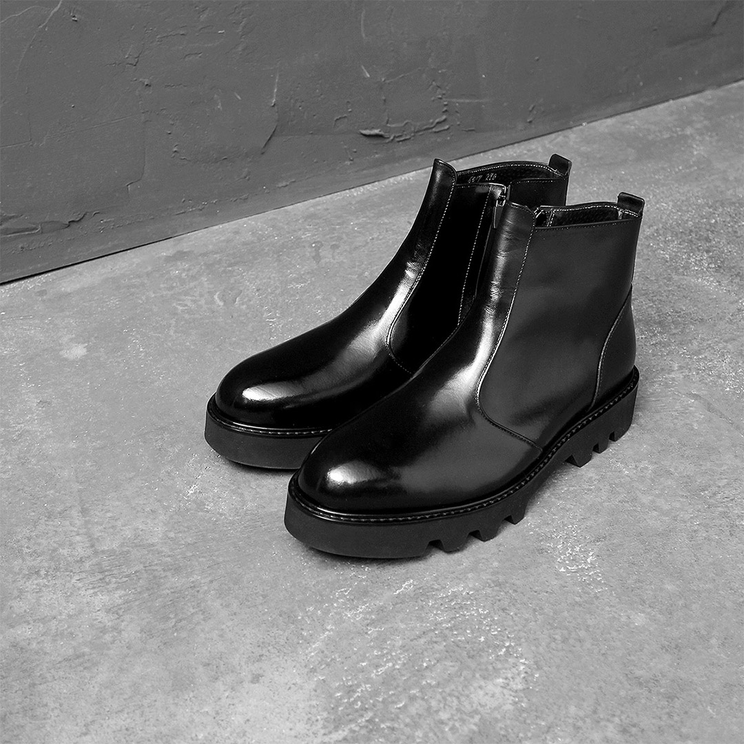 Handmade Side Zipper Leather Ankle Boots 024