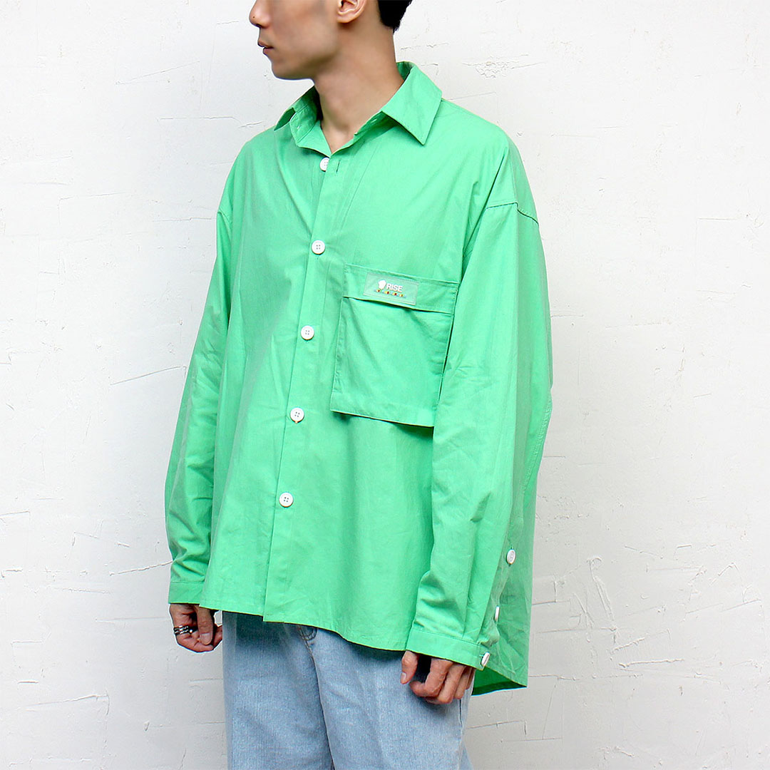 Loose Fit Neon Color Big Pocket Split Side Boxy Shirt 094