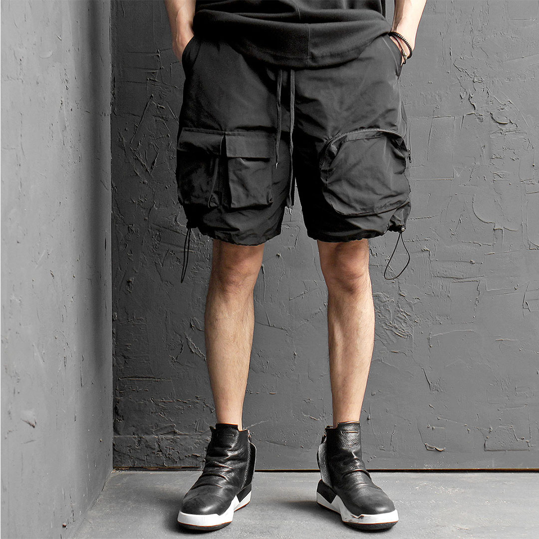 Techwear Zipper Cargo Pocket Elastic String Half Pants 424