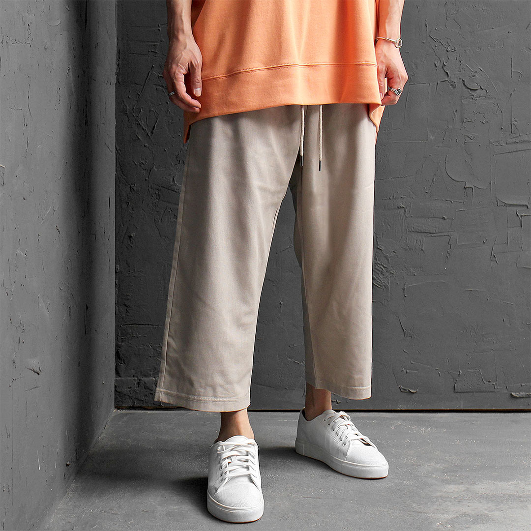 Elastic Waistband Drop Crotch Wide Linen Baggy Pants 453