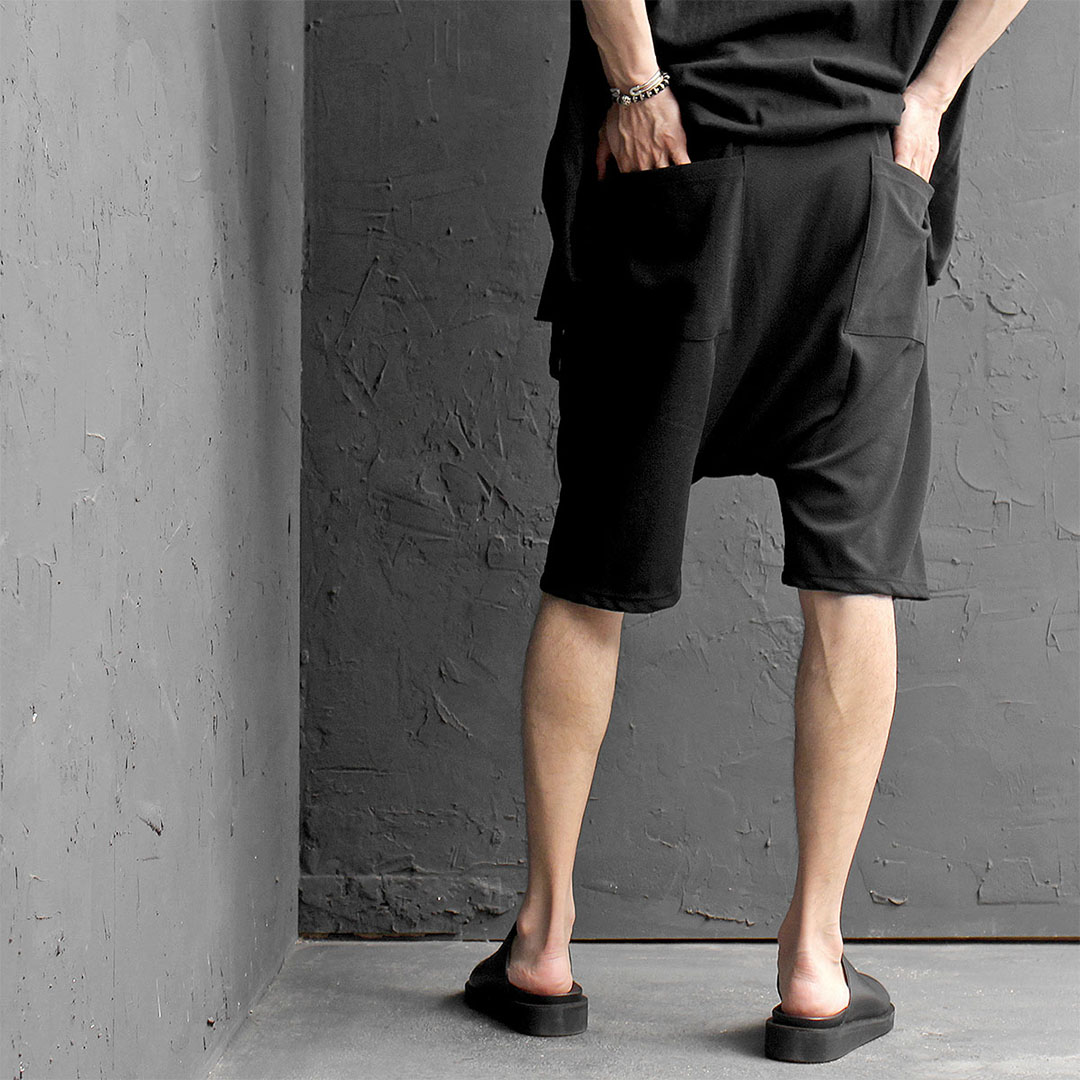 Black Drop Crotch Baggy Short Sweatpants 465