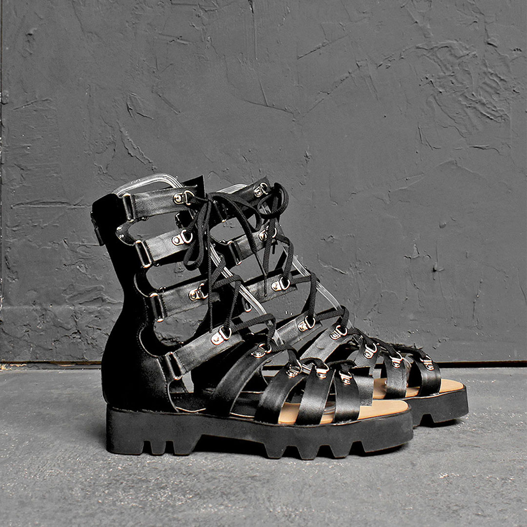 Handmade Gladiator Leather Strap High Top Sandals 110