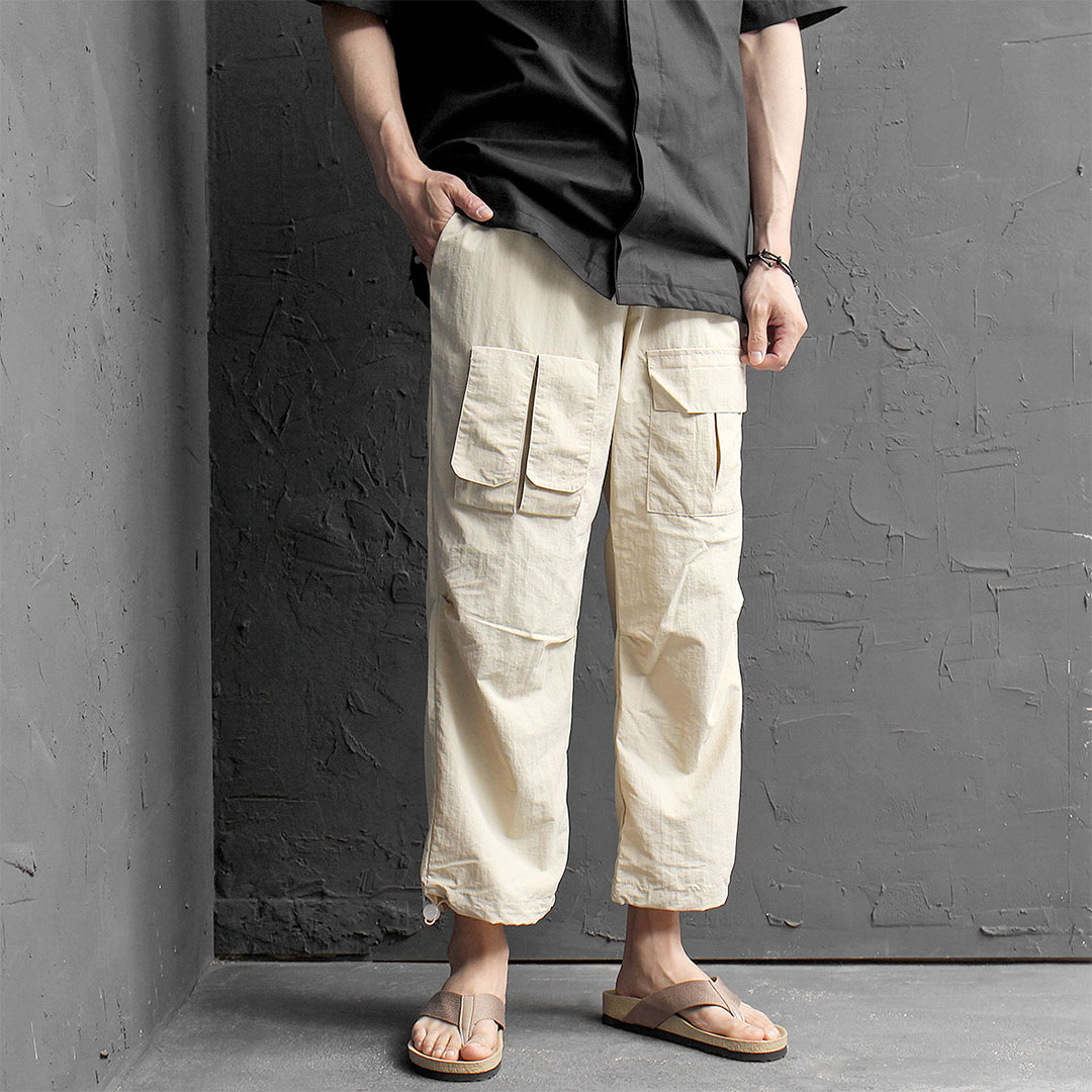 Techwear Cargo Pocket 4/5 Drawstring Pants 446