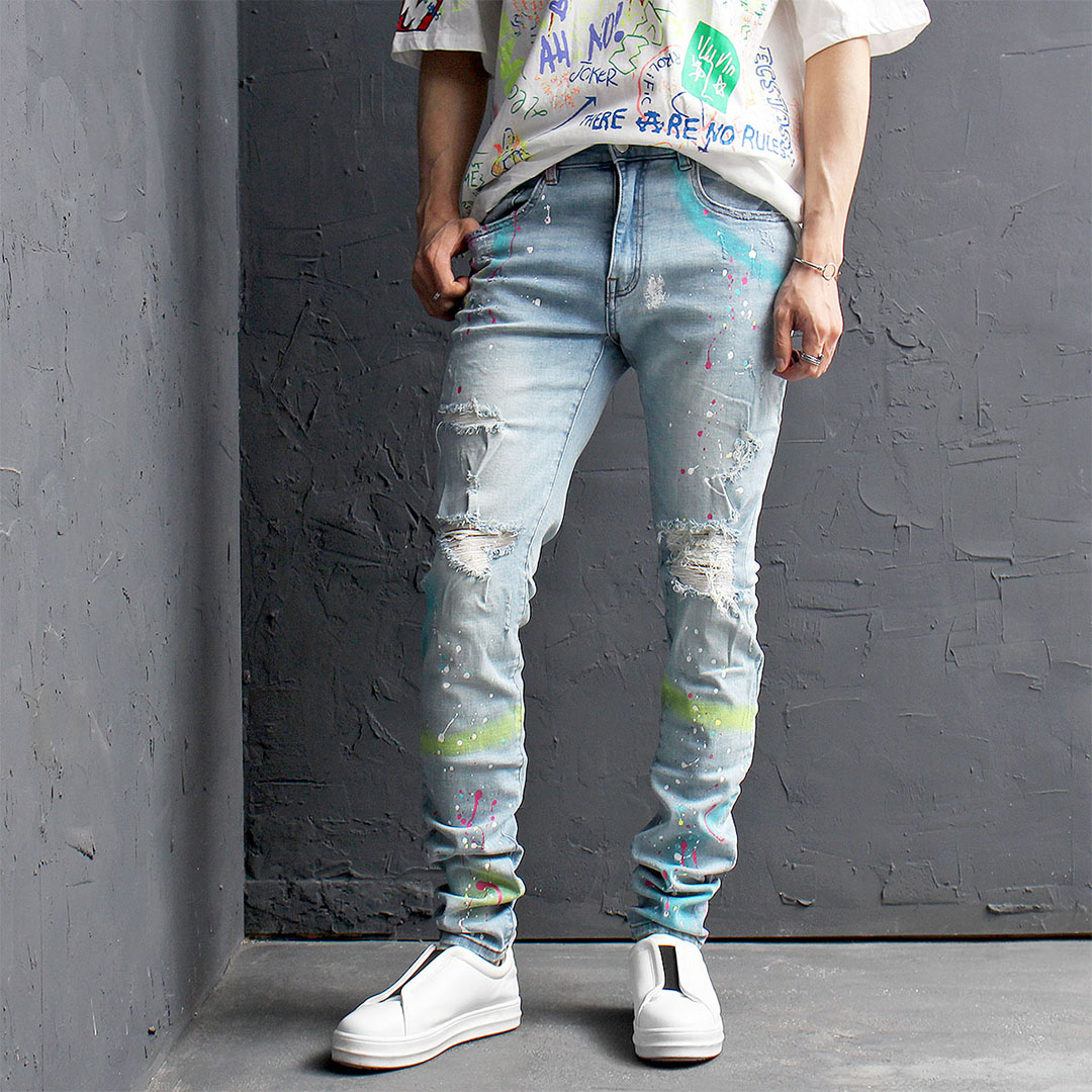 Vintage Distressed Destroyed Painted Skinny Jeans 447
