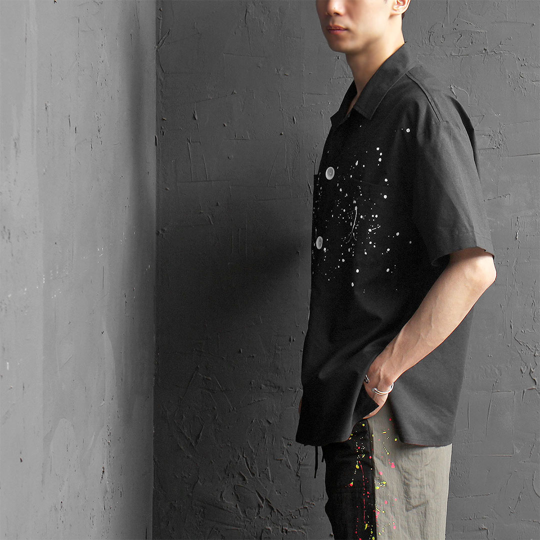 Black Linen Splattered Painting Half Sleeve Shirt 503
