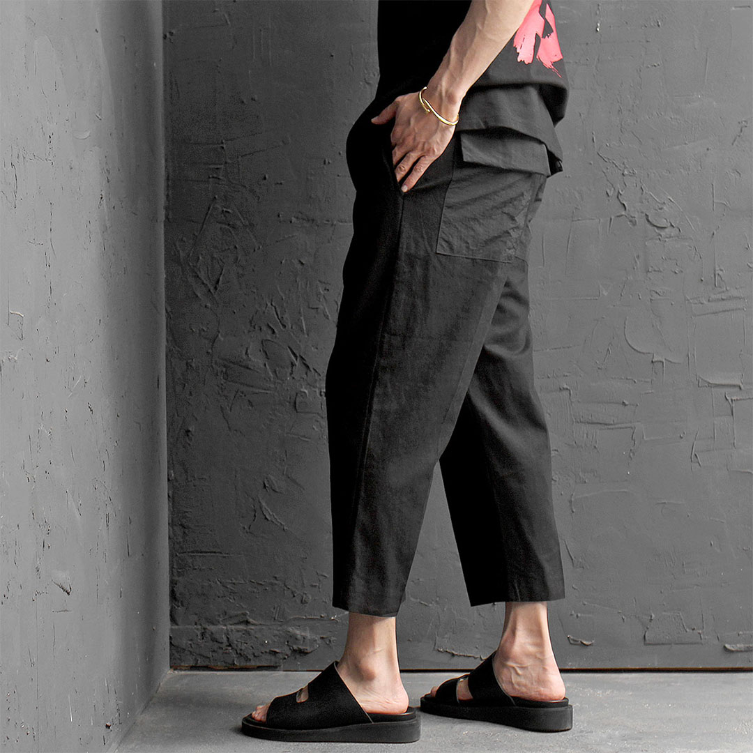 Elastic Waistband Drop Crotch Linen 4/5 Baggy Pants 480
