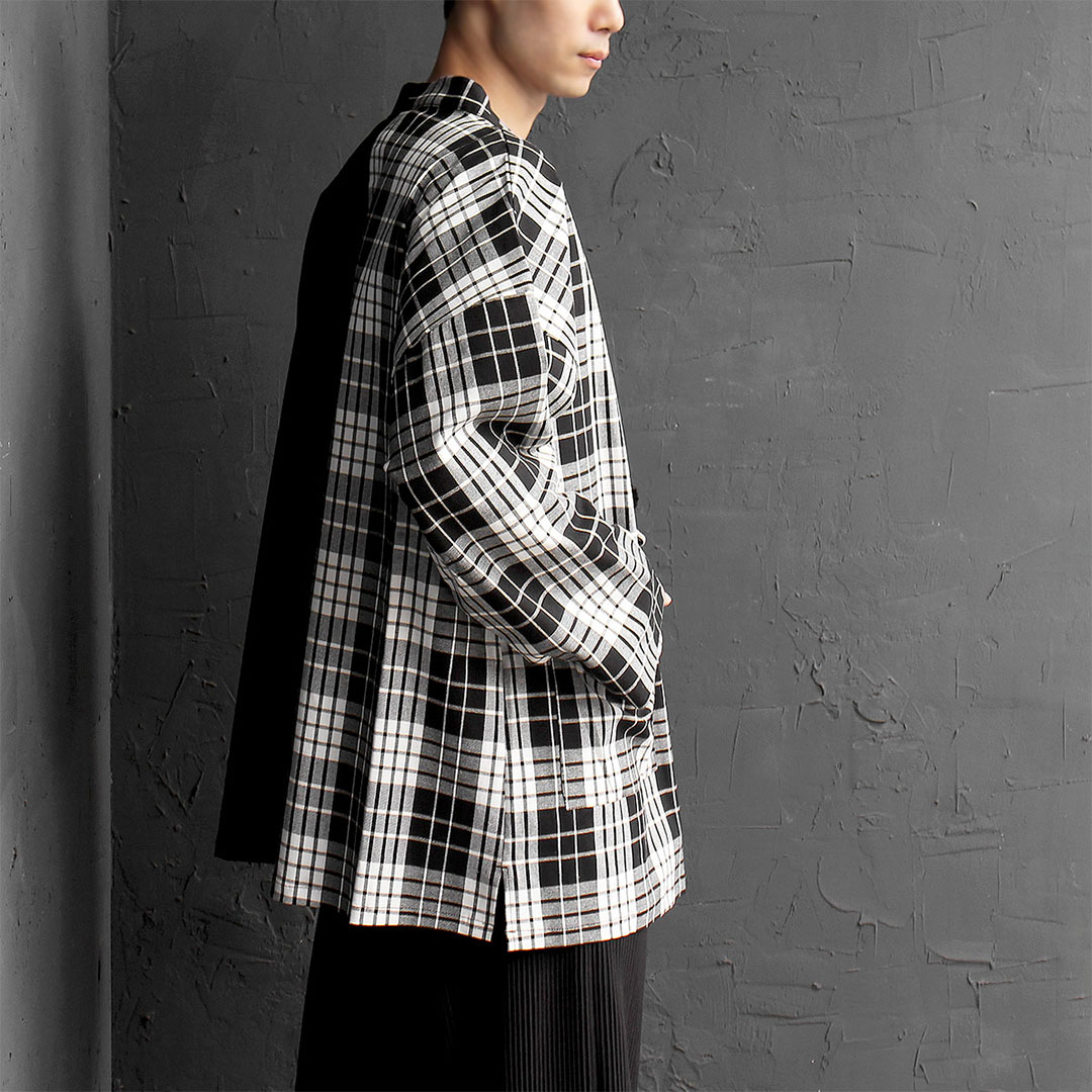 Oversized Loose Fit Half Plaid Robe Cardigan 593