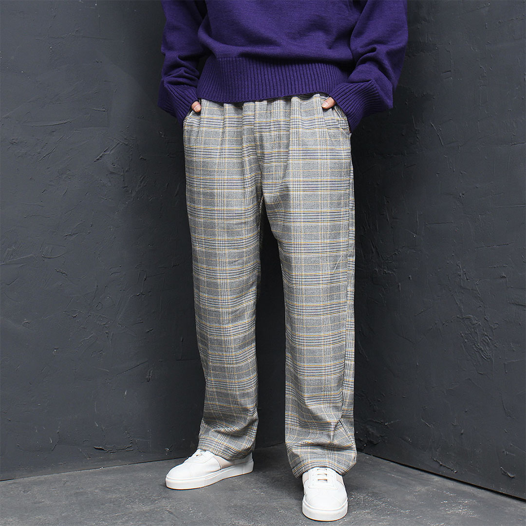 Elasticized Waistband Plaid Wide Pants 656