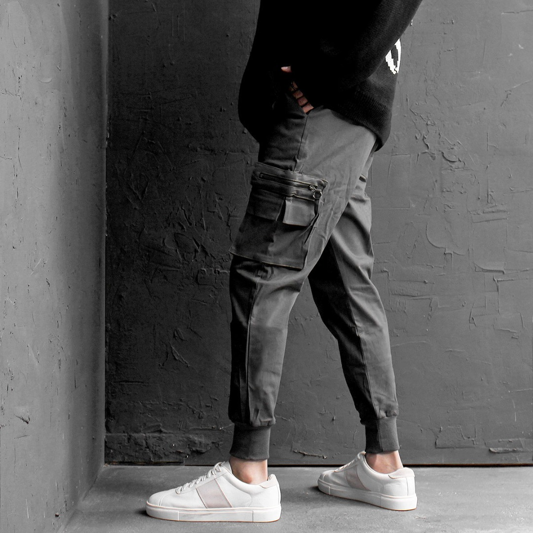 Zipper Cargo Pocket Elastic Waistband Jogger Pants 718