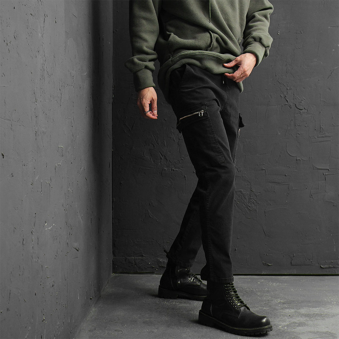 Elastic Waistband Zipper Cargo Pocket Pants 789