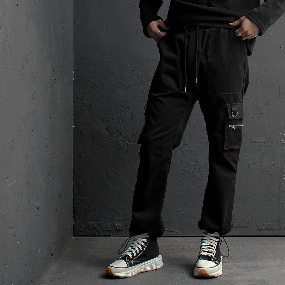 Wool String Hem Zipper Cargo Pocket Pants 808