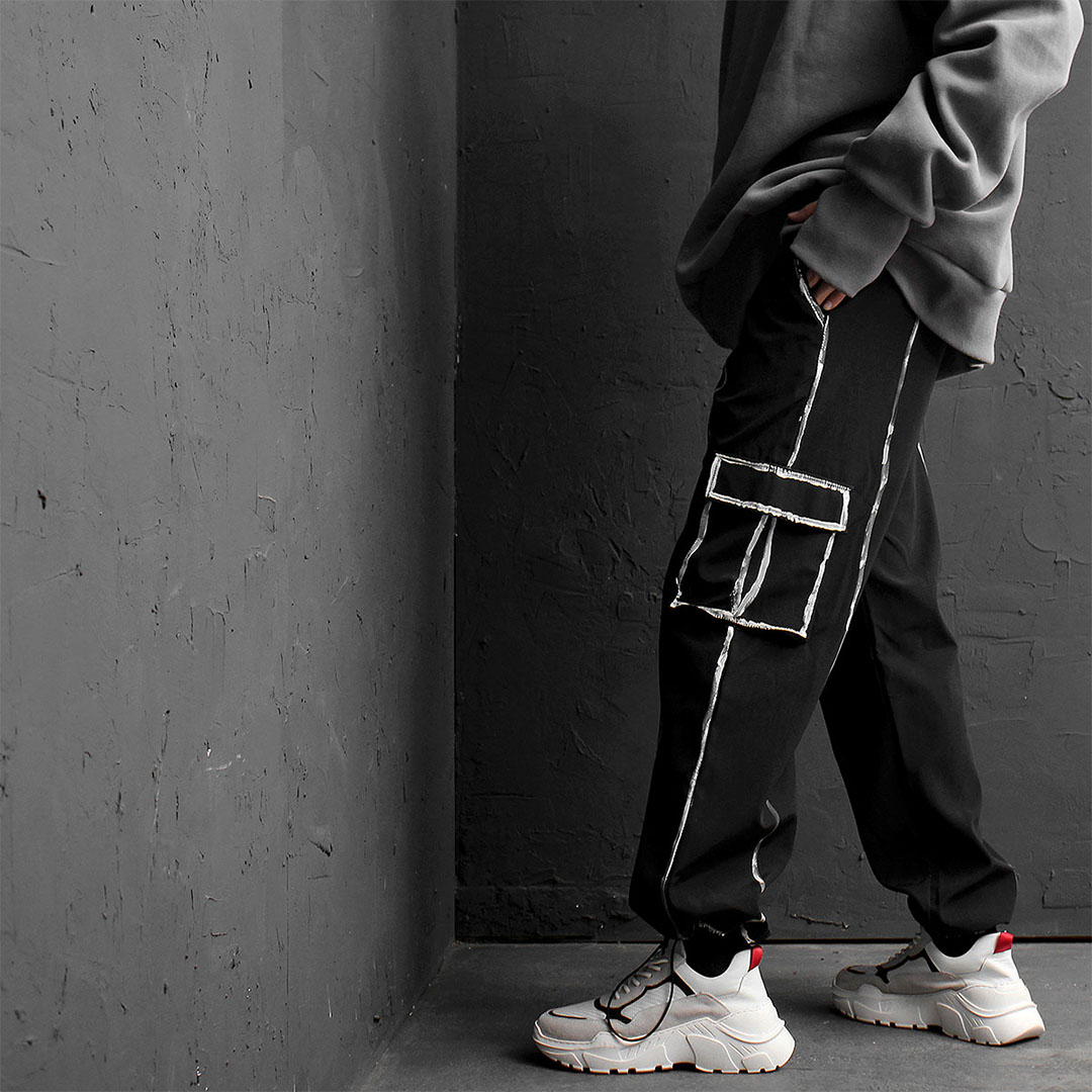 Line Painting Drawstring Cargo Jersey Sweatpants 834