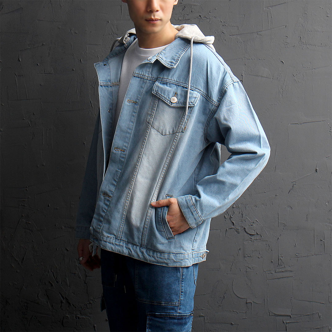 Vintage Removable Hood Denim Jacket 859