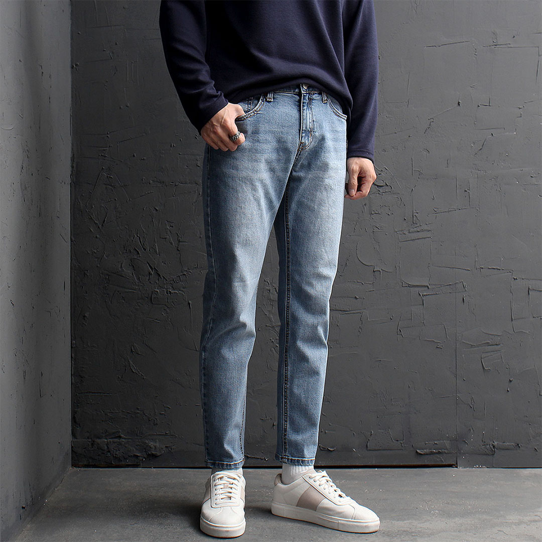 Vintage Slim Fit Straight Faded Blue Jeans 863