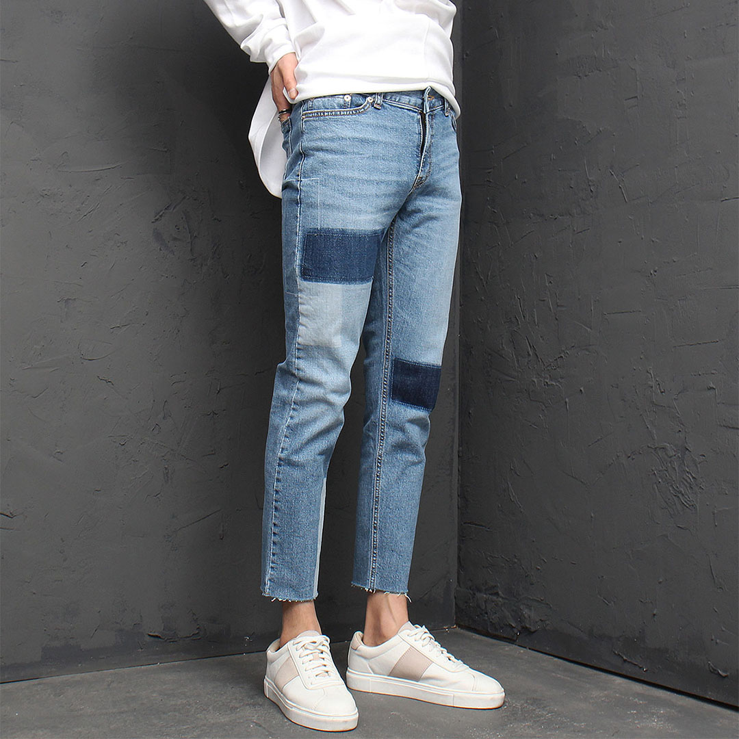 Block Washed Styling Blue Skinny Jeans 922