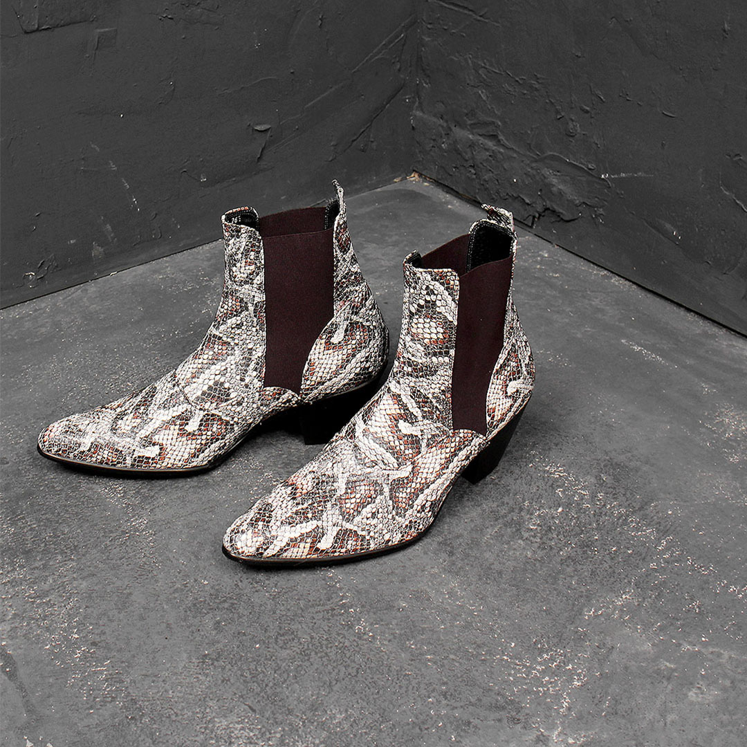 Handmade Crocodile Pattern Leather High Heel Chelsea Boots 928