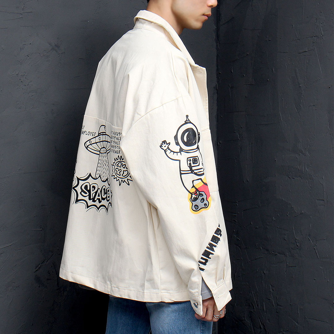 Over sized Wide Printing Jacket 959