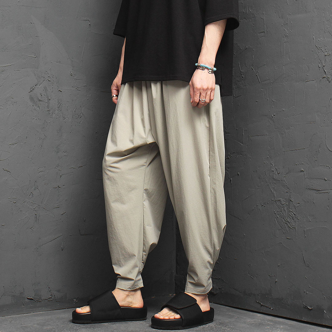 Cool Wide Elastic Band Baggy Pants 1048