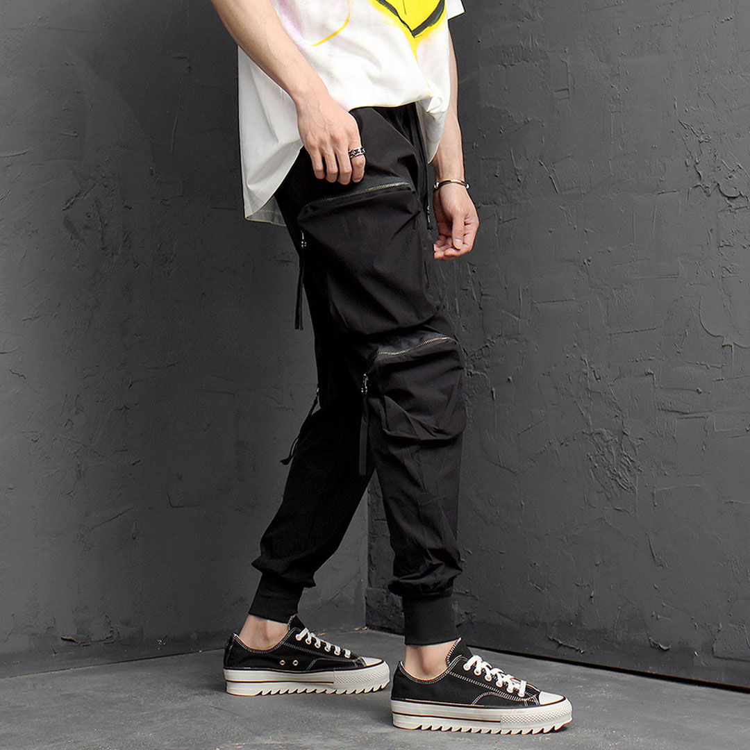 Iced Double Zipper Cargo Jogger Pants 1063
