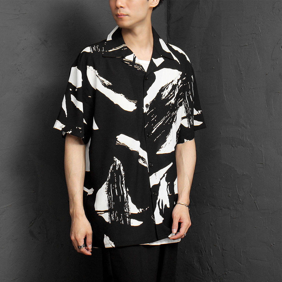 Oversized Silky Graphic Printing Short Sleeve Shirt 1074