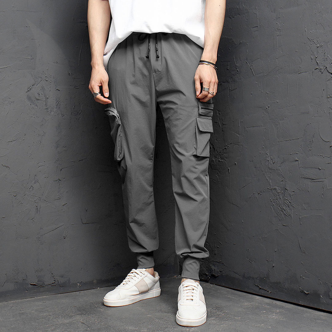 Ice Zipper Cargo Pocket Elastic Waistband Jogger Pants 1091