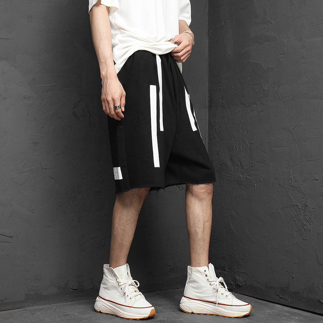 Line Printing Short Sweatpants 1139