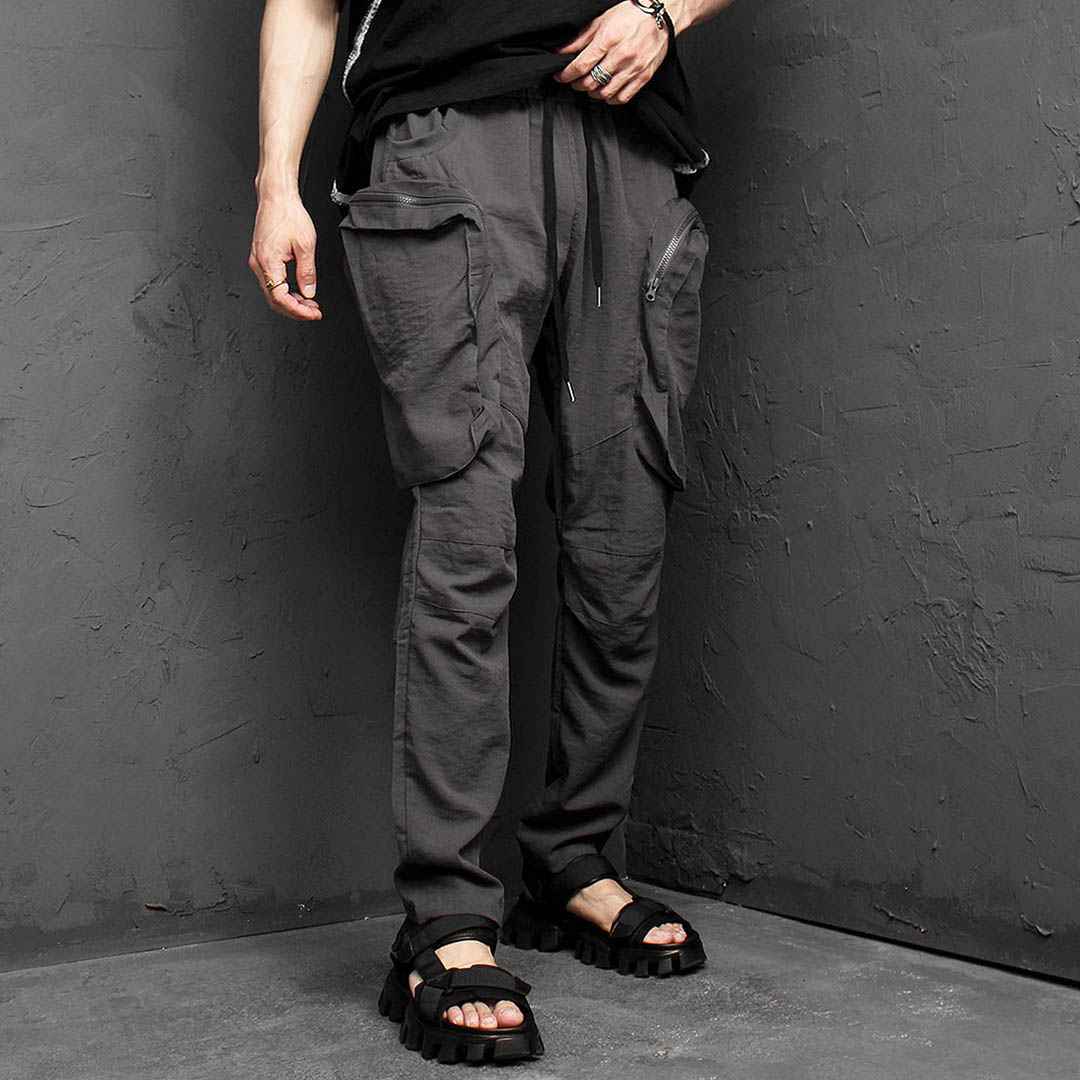 Big Zipper Cargo Pocket Linen Pants 1167
