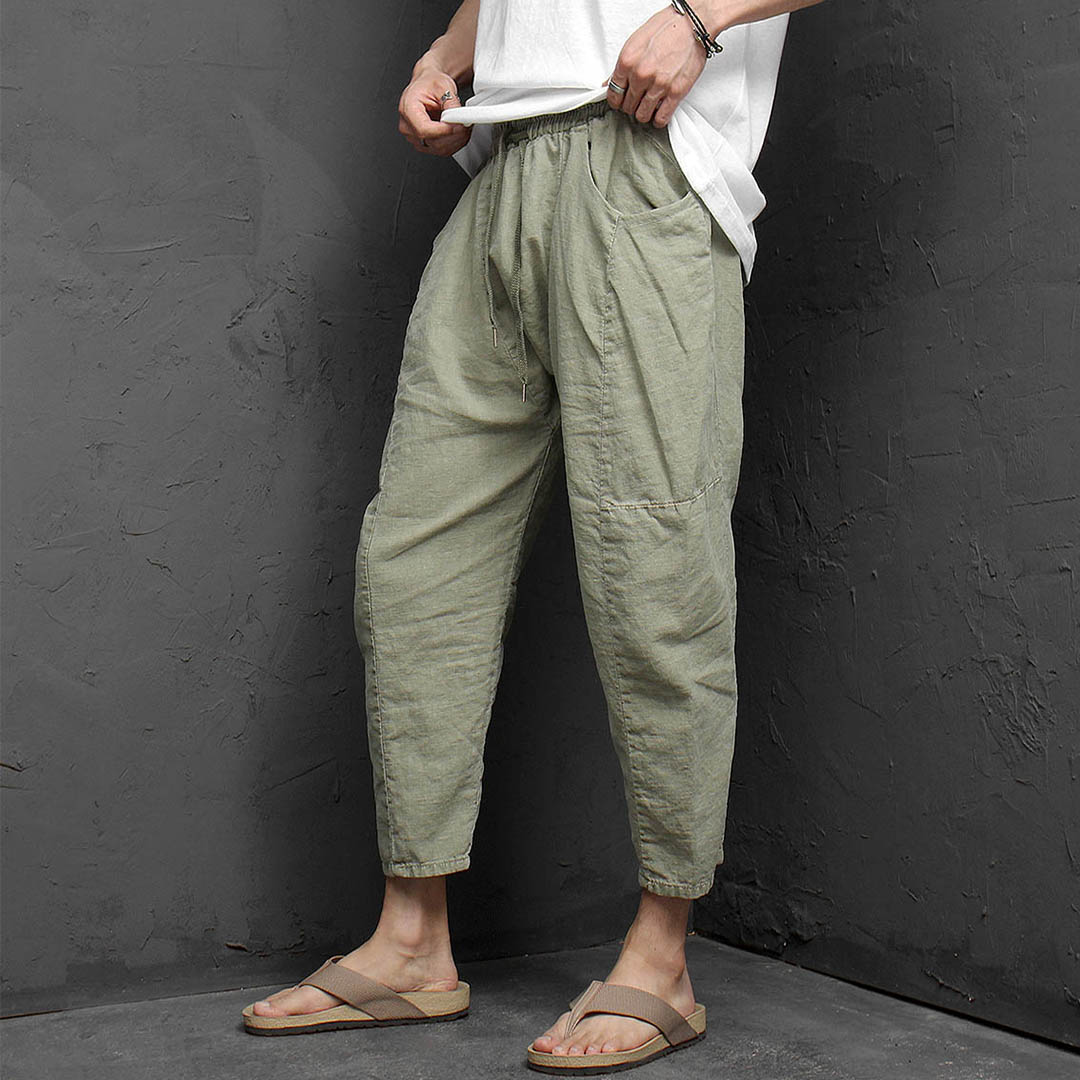 Low Crotch 4/5 Baggy Linen Sweatpants 1170