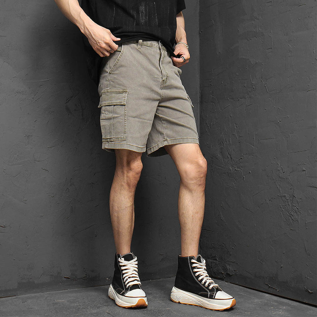 Pigment Vintage Washed Cargo Pocket Stretchable Shorts 1178
