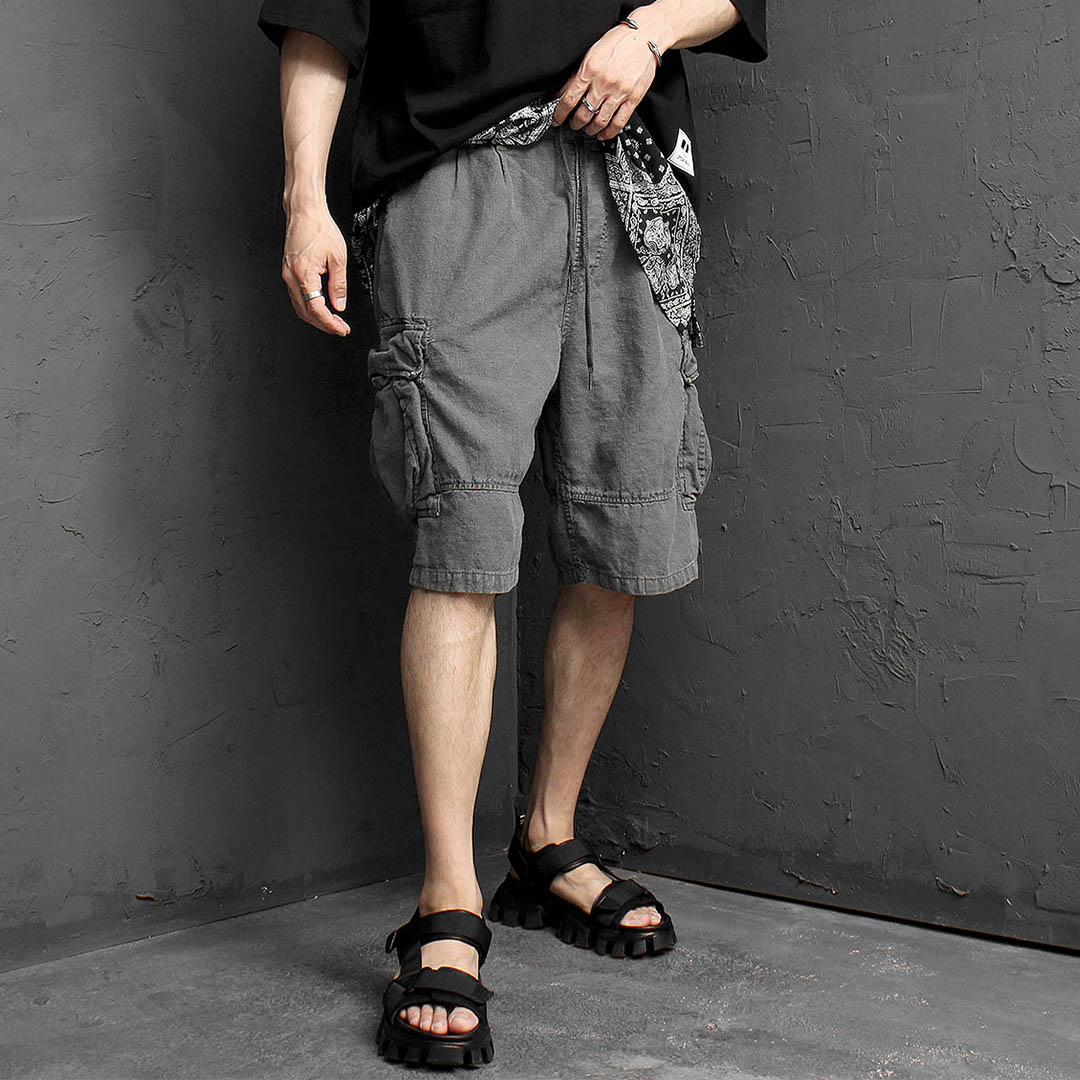 Linen Vintage Washed Cargo Pocket Shorts 1179