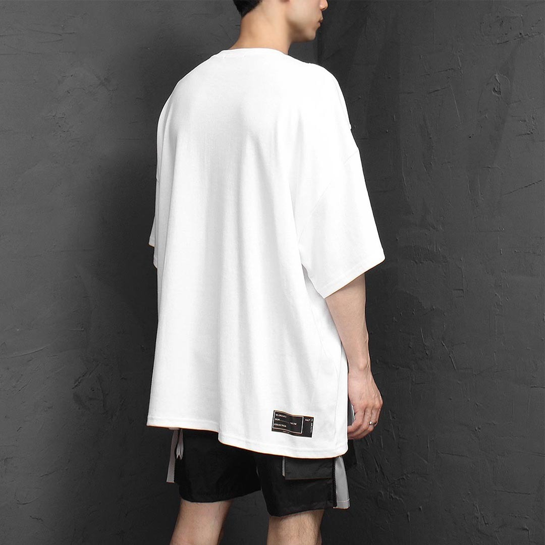 Oversized Fit Double Neck Printing Tee 1286