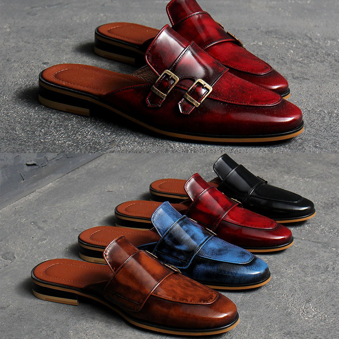 Double Monk Strap Handmade Leather Blofer 1285