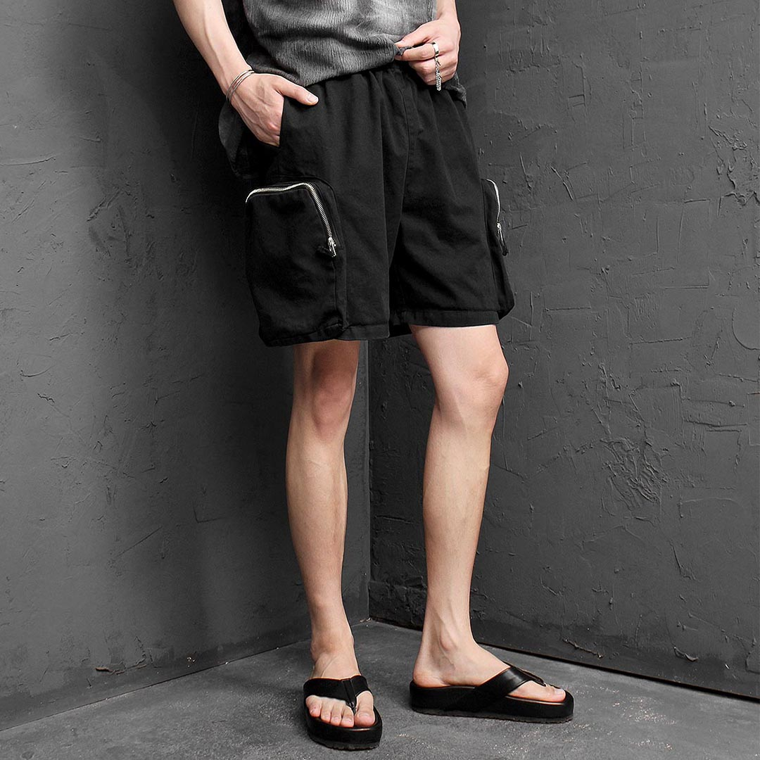 Zipper Cargo Pocket Elastic Band Shorts 1262