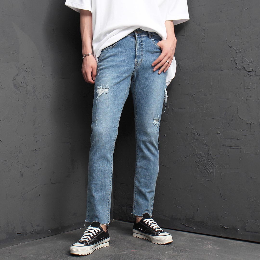 Vintage Cut Off Styling Blue Skinny Jeans 1313