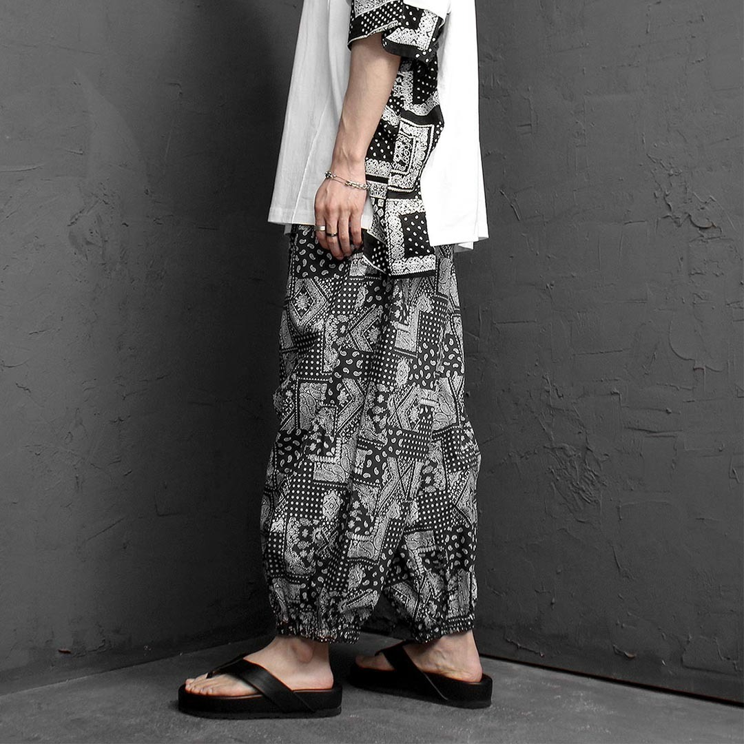 Oversized Fit Paisley Wide Baggy Pants 1282