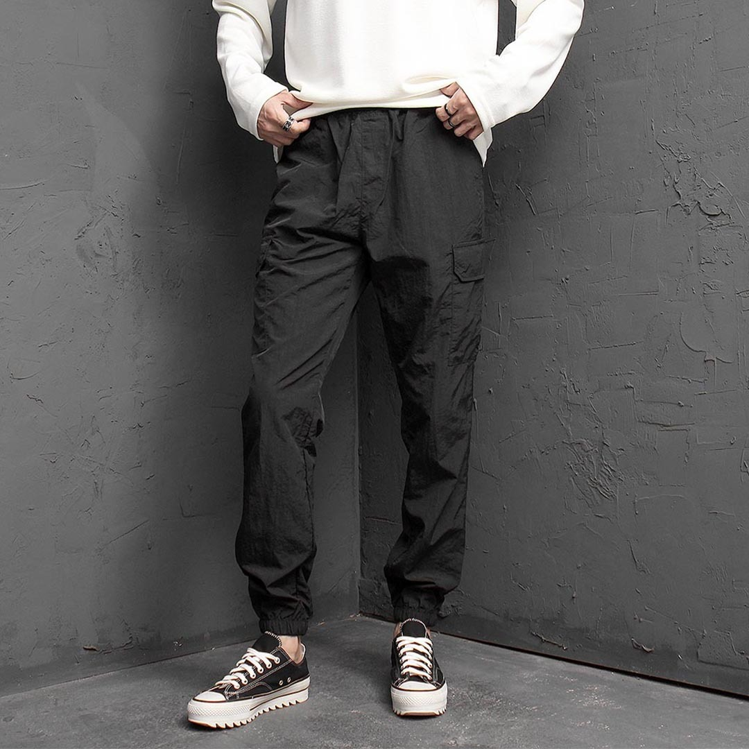 Elastic Waistband Cargo Pocket Jogger Pants 1376