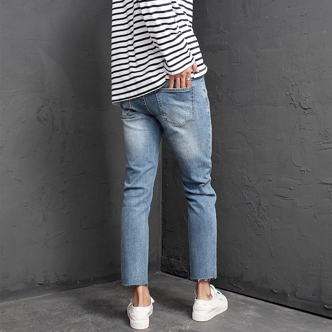Vintage Cut Styling Blue Skinny Jeans 1340