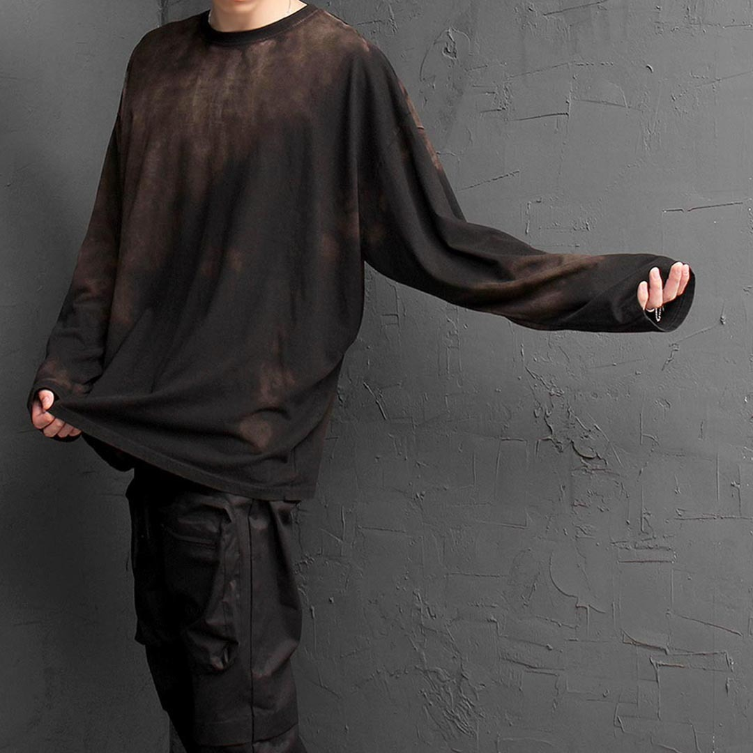 Over sized Vintage Stain Washed Long Sleeve Tee 1332