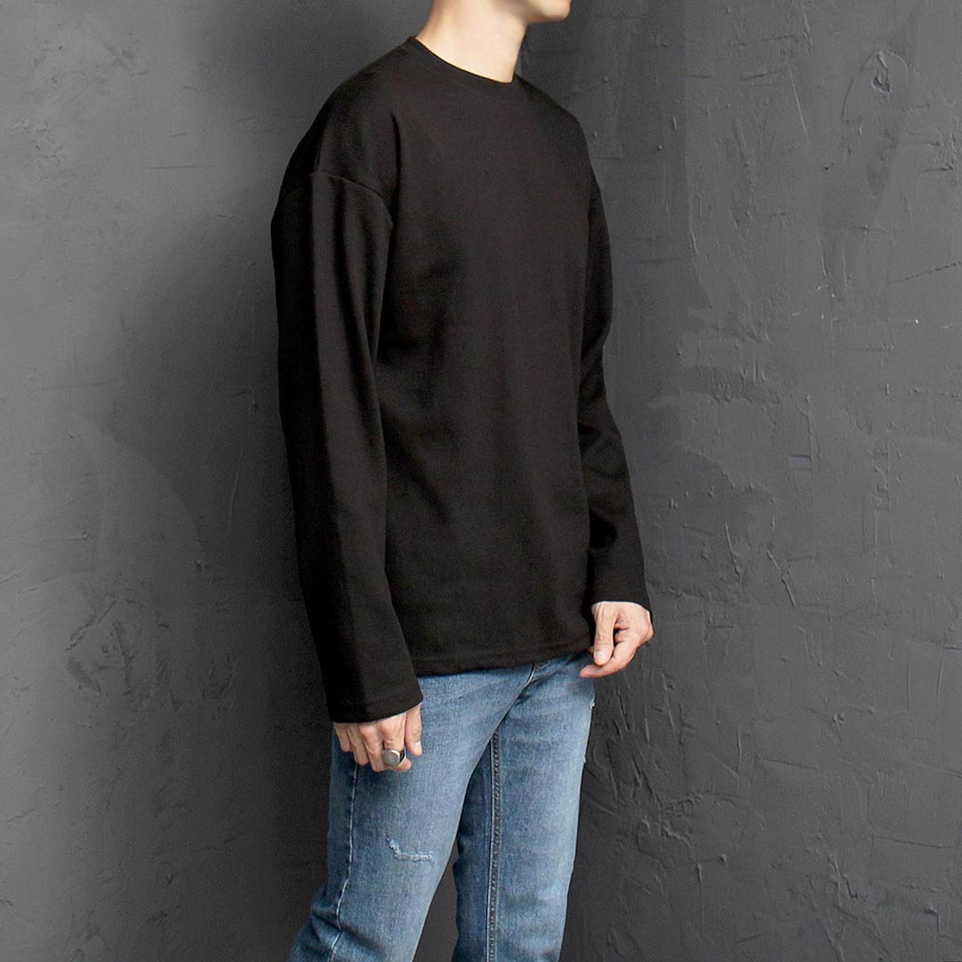 Loose Fit Split Side Basic Long Sleeve Tee 1345