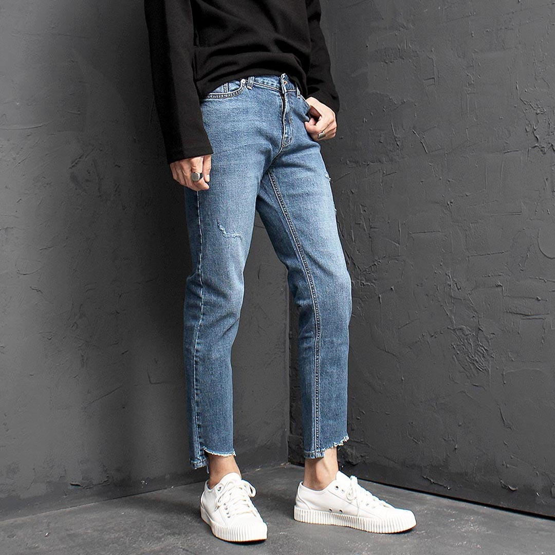 Vintage Cut Off Styling Blue Skinny Jeans 1346