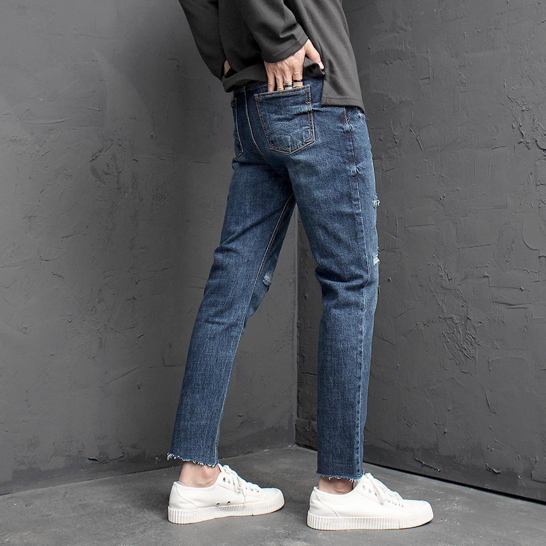 Vintage Cut Off Styling Blue Skinny Jeans 13622